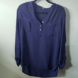 Navy, high-low blouse